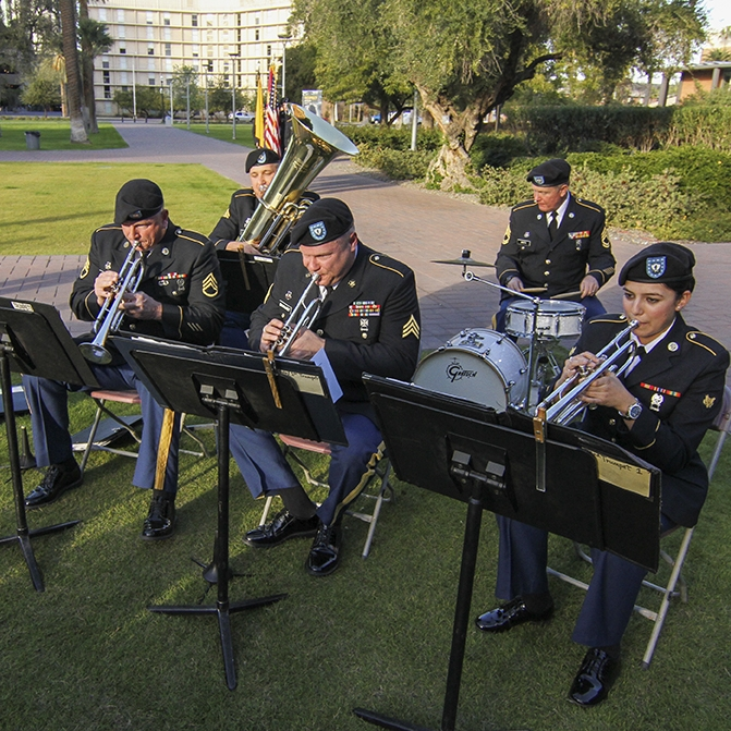 musicians of the 1018th Army band perform