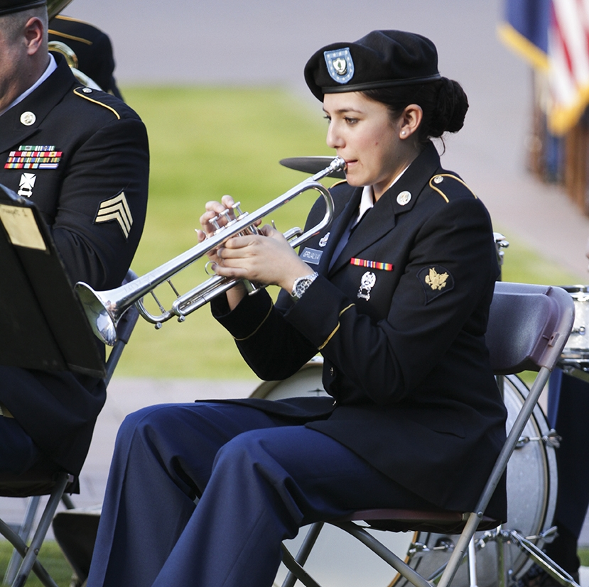 A Arizona Army Guard trumpet player at a ceremony