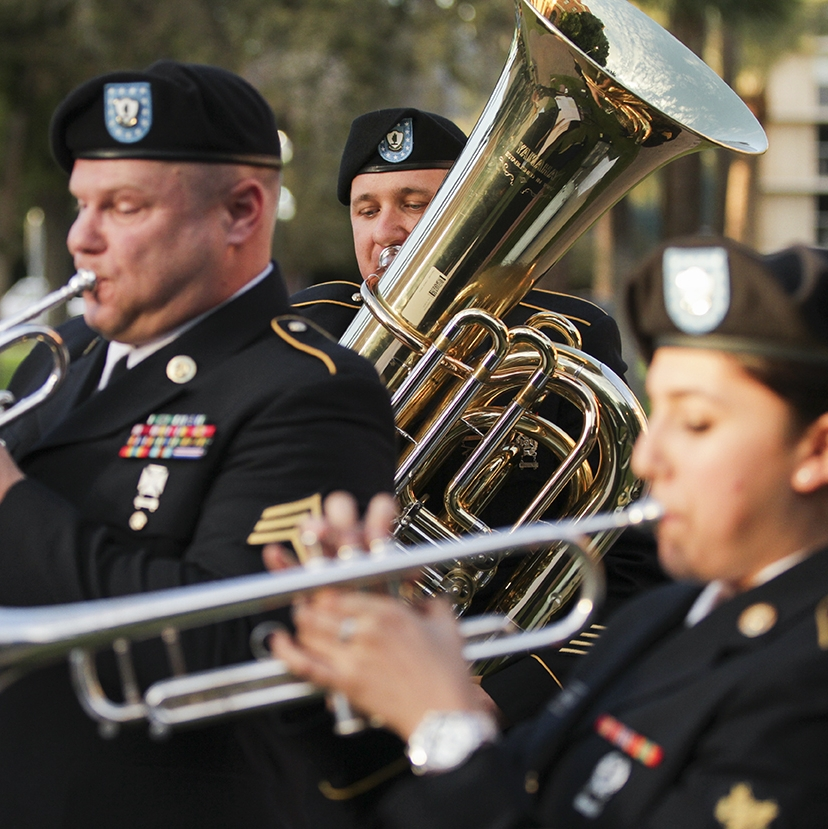 Arizona Army Guardsmen with the 108th Army Band play at a ceremony
