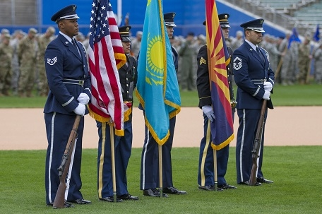 Arizona Color Guard stand on the field with more than 3800 Arizona Guardsmen during the 2018 Arizona National Guard Muster on December, 2 at the Kino Sports Complex in Tucson, Ariz.