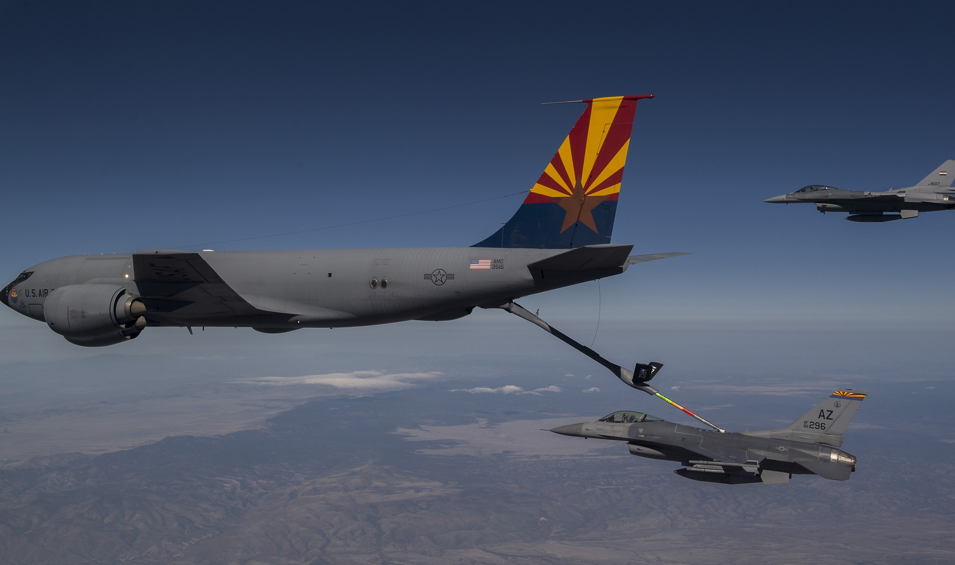 AZANG 161st ARW refueling F-16s from the AZANG 162d Wing