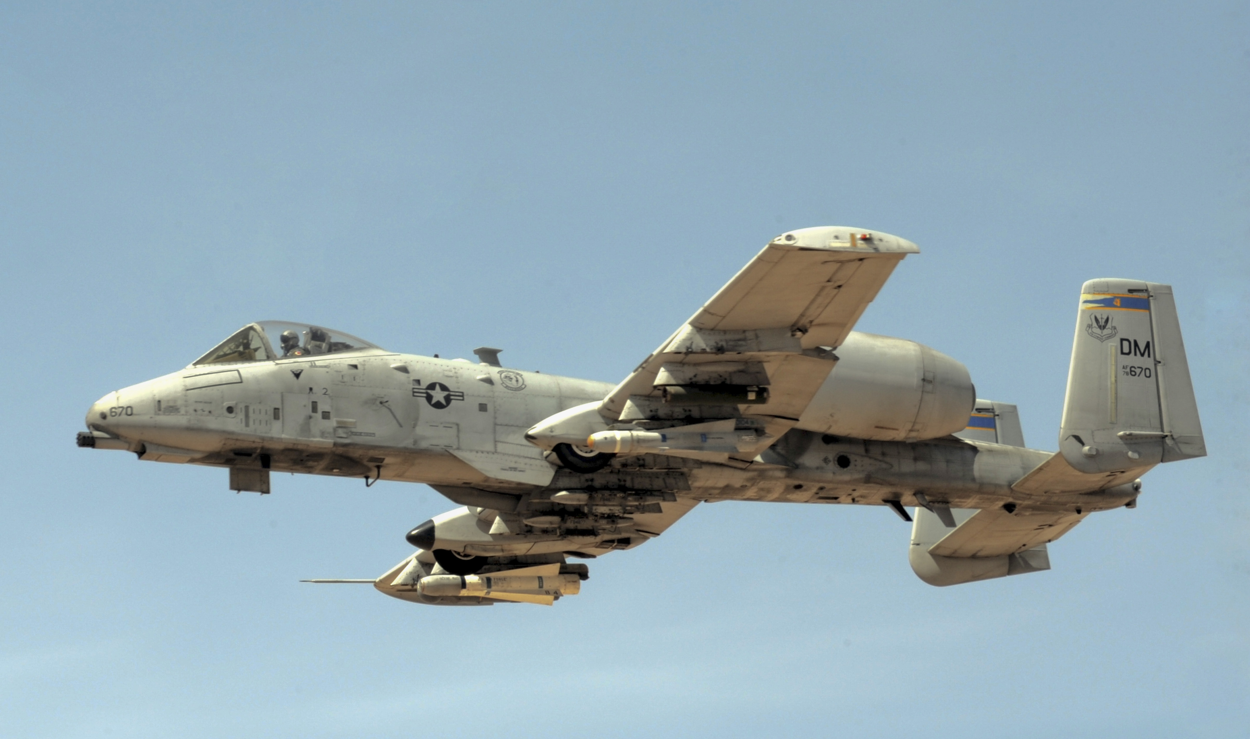 A-10 Thunderbolt from the 354th Fighter Squadron flies through the air during a strafing run at Barry M. Goldwater Air Force Range