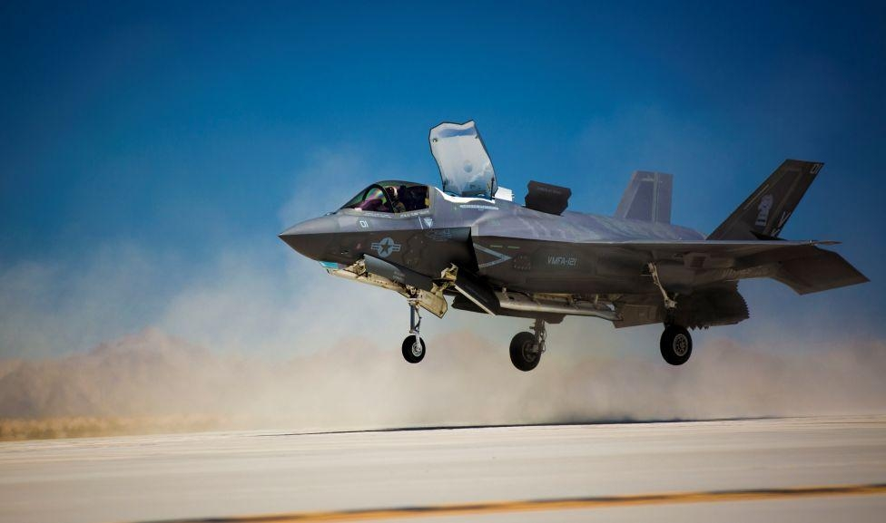 Marine Corps F-35B performing vertical landing at Marine Corps Air Station - Yuma