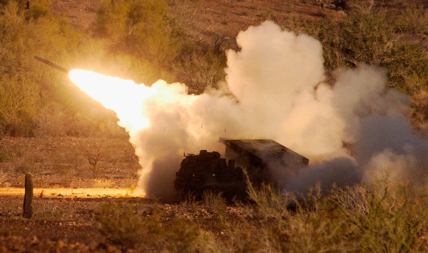 Test-firing an Army Multiple Launch Rocket System (MLRS) at Yuma Proving Ground