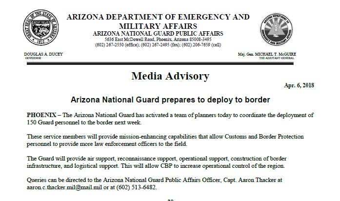Arizona National Guarad prepares to deploy to border Media Advisory