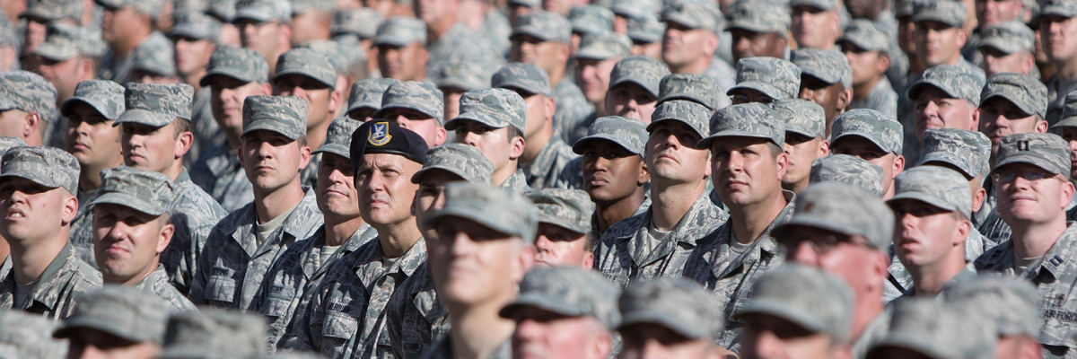 Arizona Army and Air National Guardsmen stand in formation
