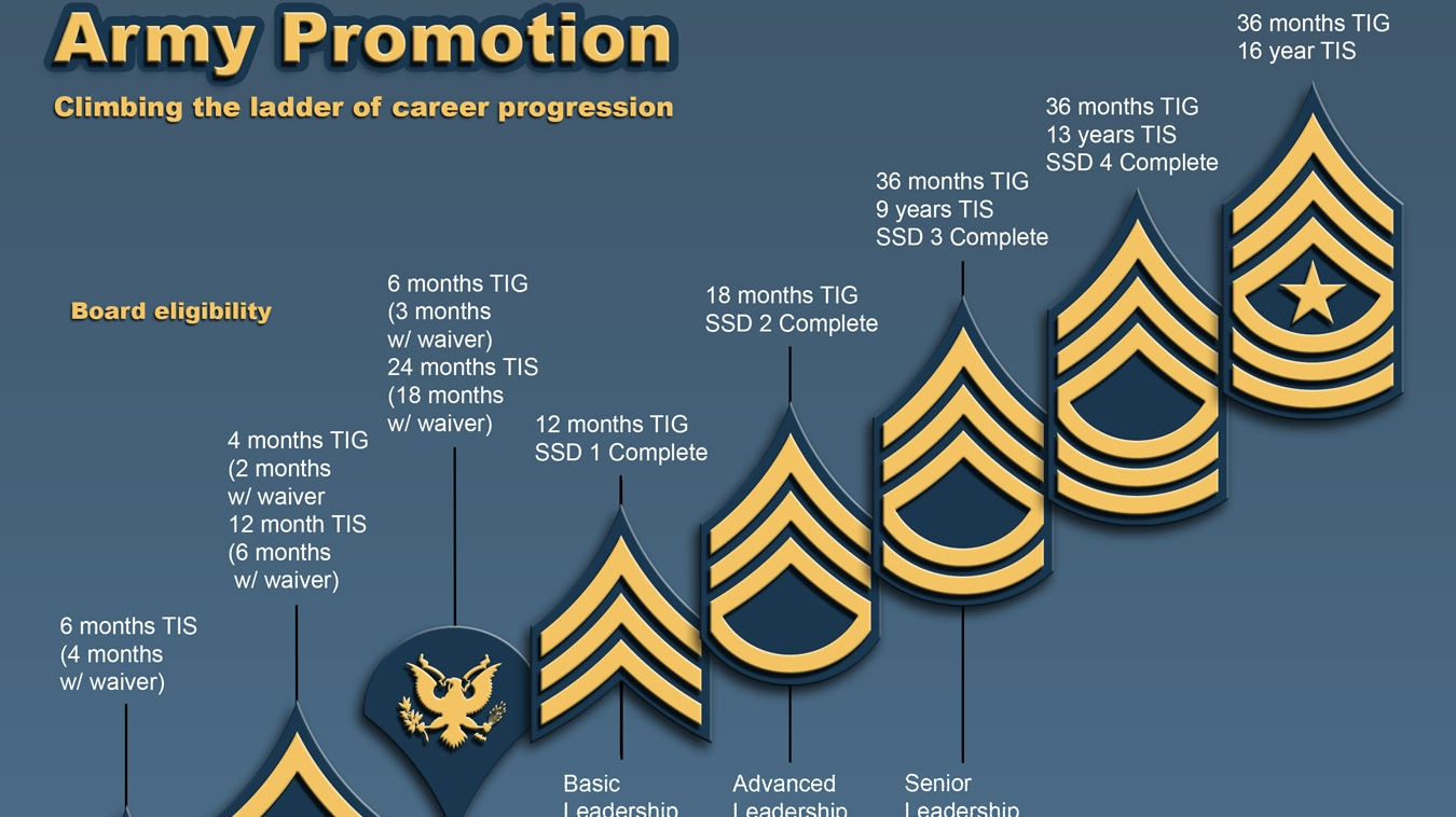 Infogrpahic showing the new requirments to board for promotion and to pin on new rank