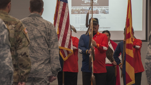 A native american group presents the colors at the 2016 Diversity Day