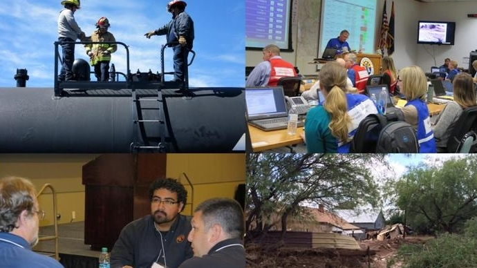 "Scenes from DEMA events : Bakken oil haz mat conference, State earthquake exercise, recovery/planning workshop, Wickenburg flooding, ""Have their backs"" campaign."