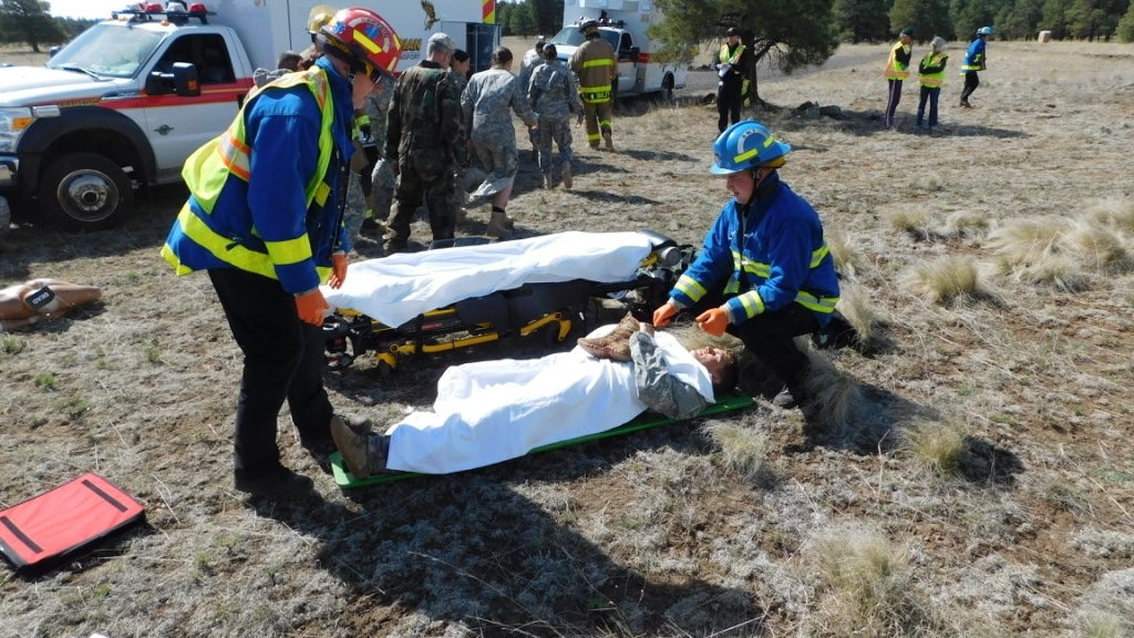 Multiple agencies work together in response to simulated helicopter crash
