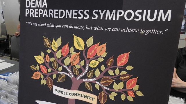 Sign showing Preparedness Symposium