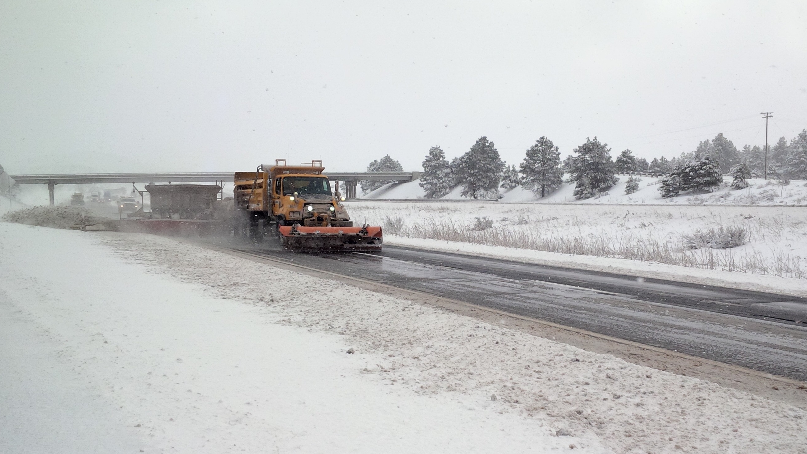 Arizona Department of Transportation TowPlow plows snow out of roadway