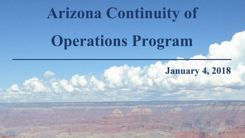 This is the cover of the Arizona Continuity of Operations Planning Program.