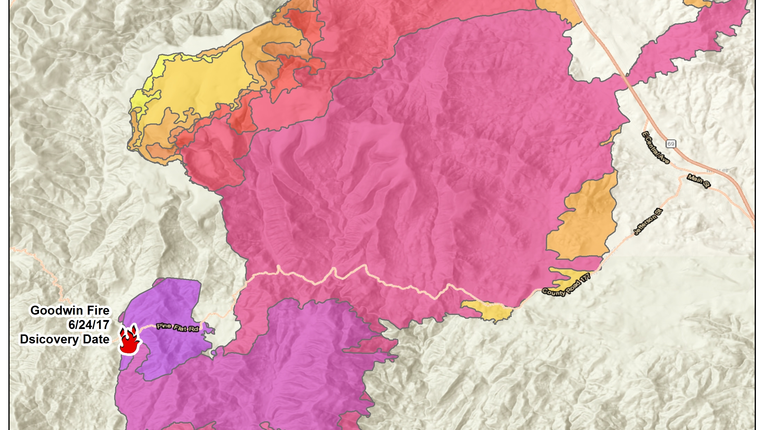 Image of Goodwin Fire progression map