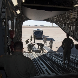 Loading equipment on a C-17 Globemaster III