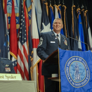 Chief Master Sgt. Shane Clark, Arizona National Guard senior enlisted advisor, welcomes Soldiers and Airmen from around the country to Phoenix.