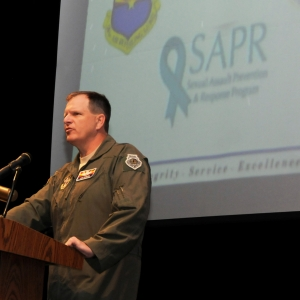Maj. Gen. Michael McGuire speaks to Air Guard members