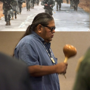 PHOENIX – Ricardo Leonard, Salt River Pima-Maricopa Indian Community Councilman, conducts a blessing during the open ceremonies of the Arizona National Guard's 150th birthday event at Papago Park Military Reservation, September 2.