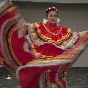 A performer of a local hispanic dance group performs in front of members of DEMA
