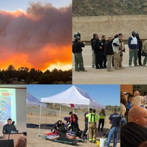 images of wildfire, meetings, exercises, trainings