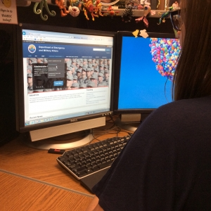 A woman uses the new DEMA website.